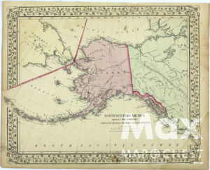Vintage Maps - North Western America showing the territory ceded by Russia to the United States