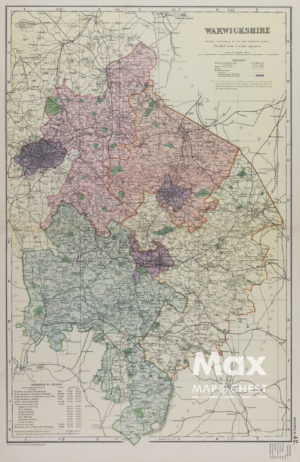 Early ordnance survey map of Warwickshire