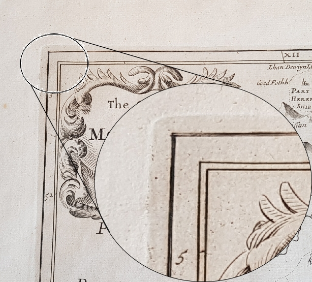 Image showing a plate mark on an antique map
